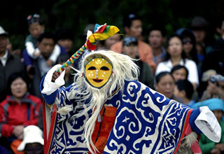 Tibetan Opera Performance During Shoton Festival