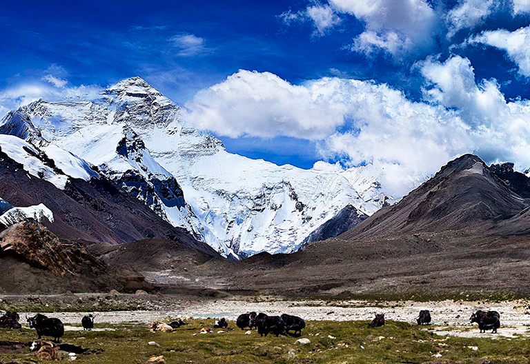 Snow-Capped Mt. Everest and Himalayan Range