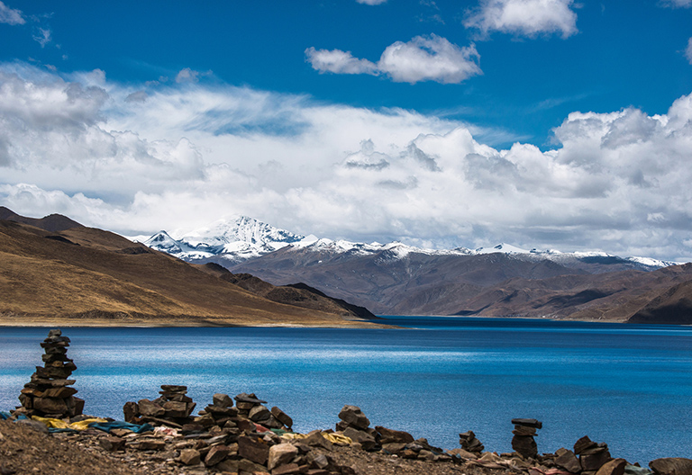 Tibetan Stone Marks beside Yamdrok Lake in Gyantse