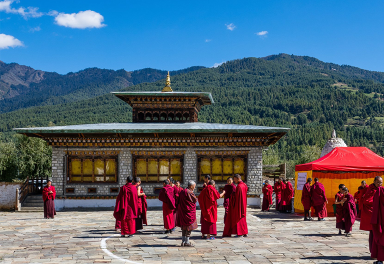 Monks in Jambay Lhakhang