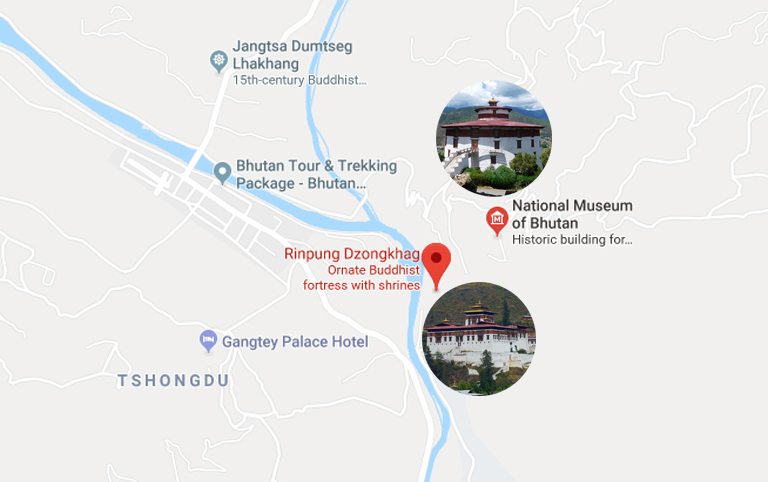 Rinpung Dzong Location Map