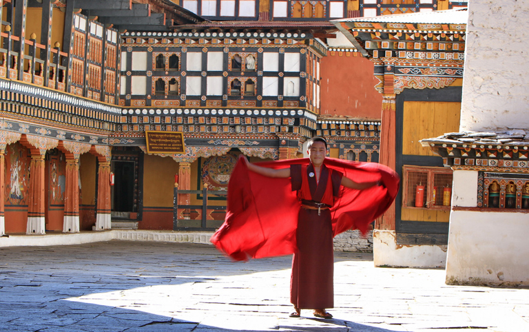 A Monk in Rimpung Dzong