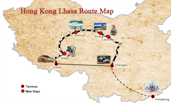 Tibet Tours from Hong Kong Map