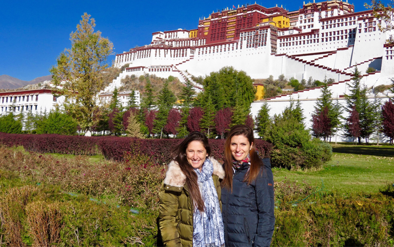 Julie's Faimily from France visited Potala Palace with Tibet Discovery