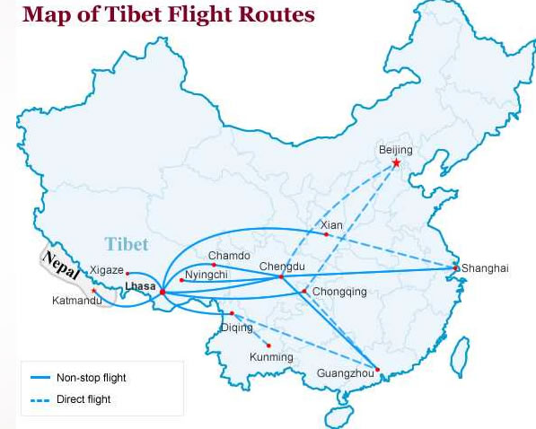 Map of Tibet Flight Routes