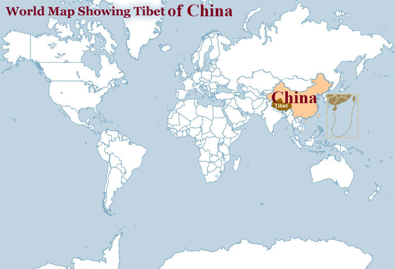 Tibet world map tibet on world map tibet location map tibet tours gumiabroncs Images