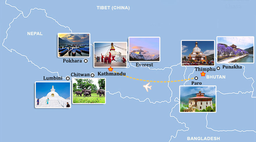 Travel Map of Bhutan and Nepal