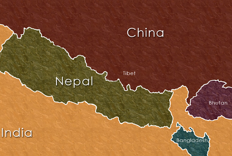 Nepal Tibet Bhutan Location Map