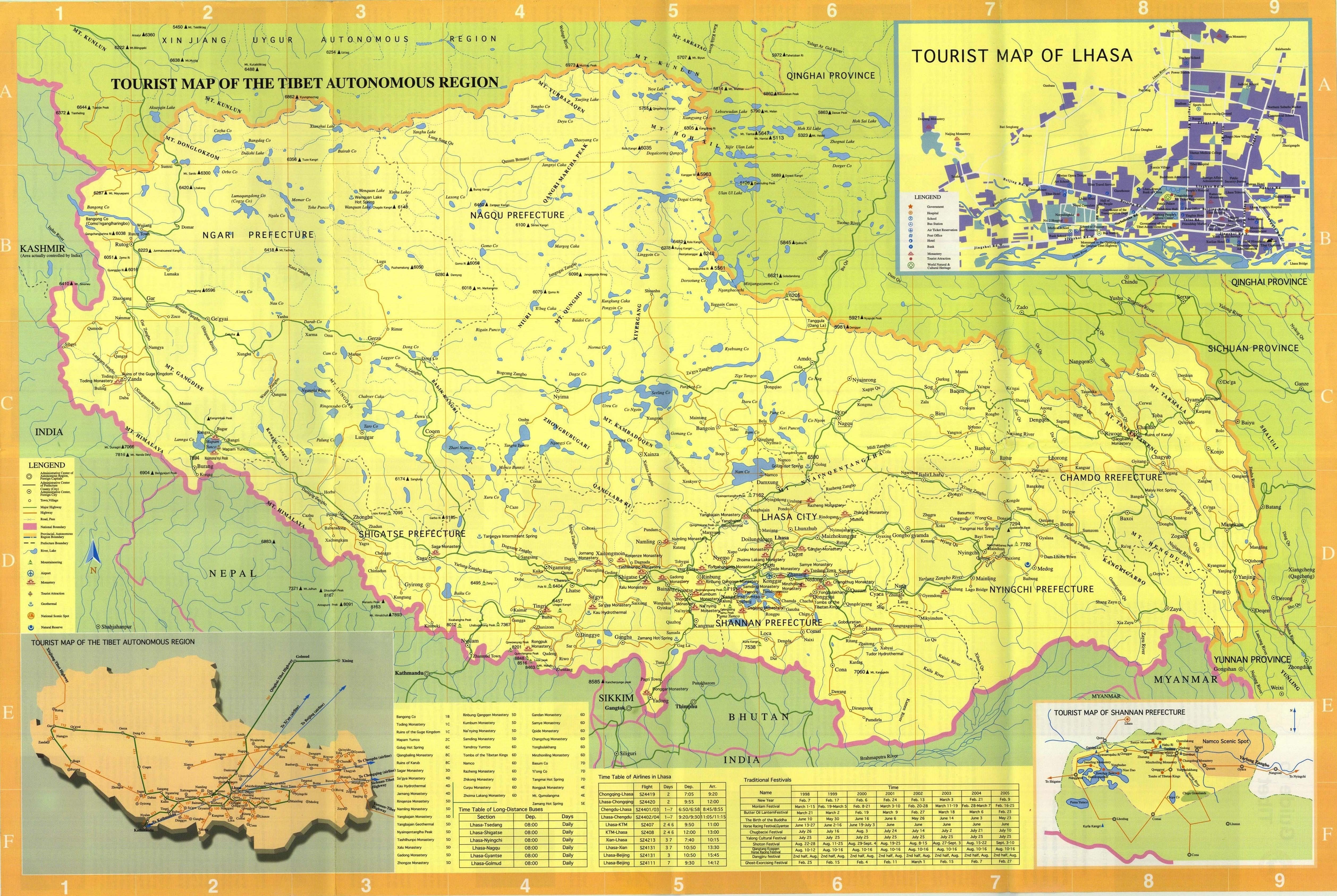 Maps of Nepal Tibet Bhutan 2019/2020