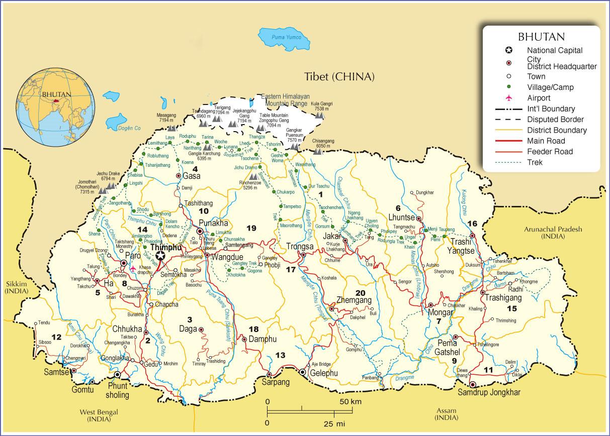 Maps of Nepal Tibet Bhutan 20182019