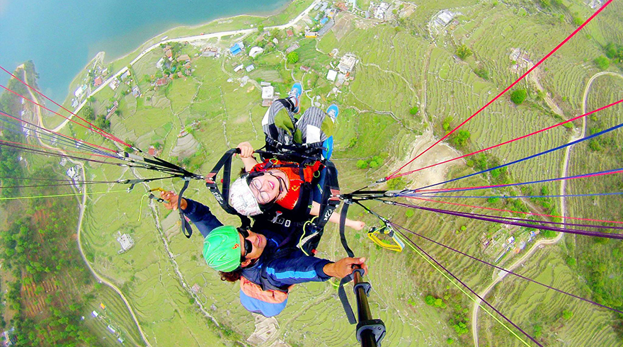 Experience exciting paragliding in the sky to overlook the beautiful Pokhara and record the special  moment of Nepal journey.