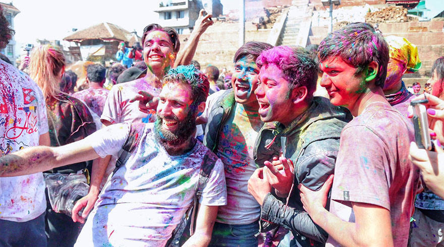Tourists are enjoying the local Sa Paru Festival in Nepal