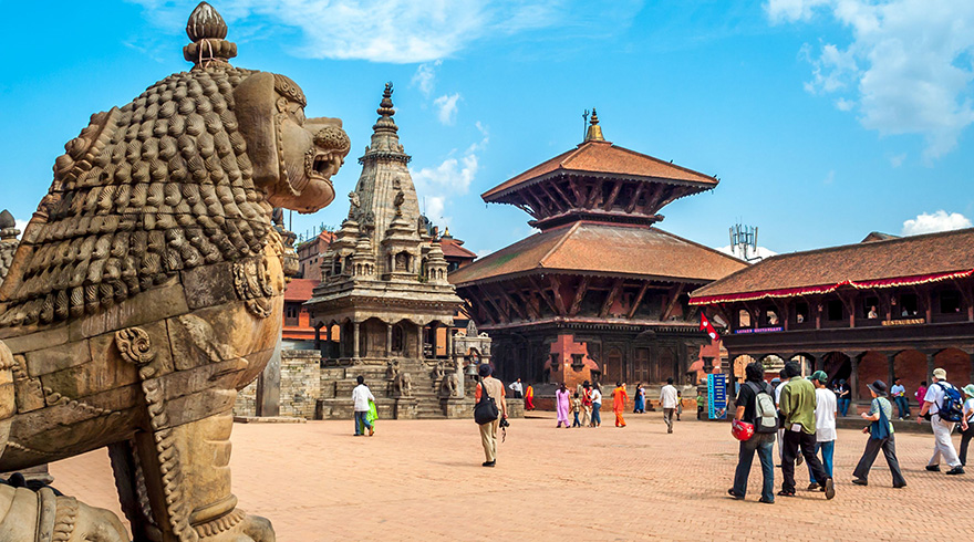 Tourists are Visiting Grandiose Bhaktapur Durbar Square in Kathmandu Valley