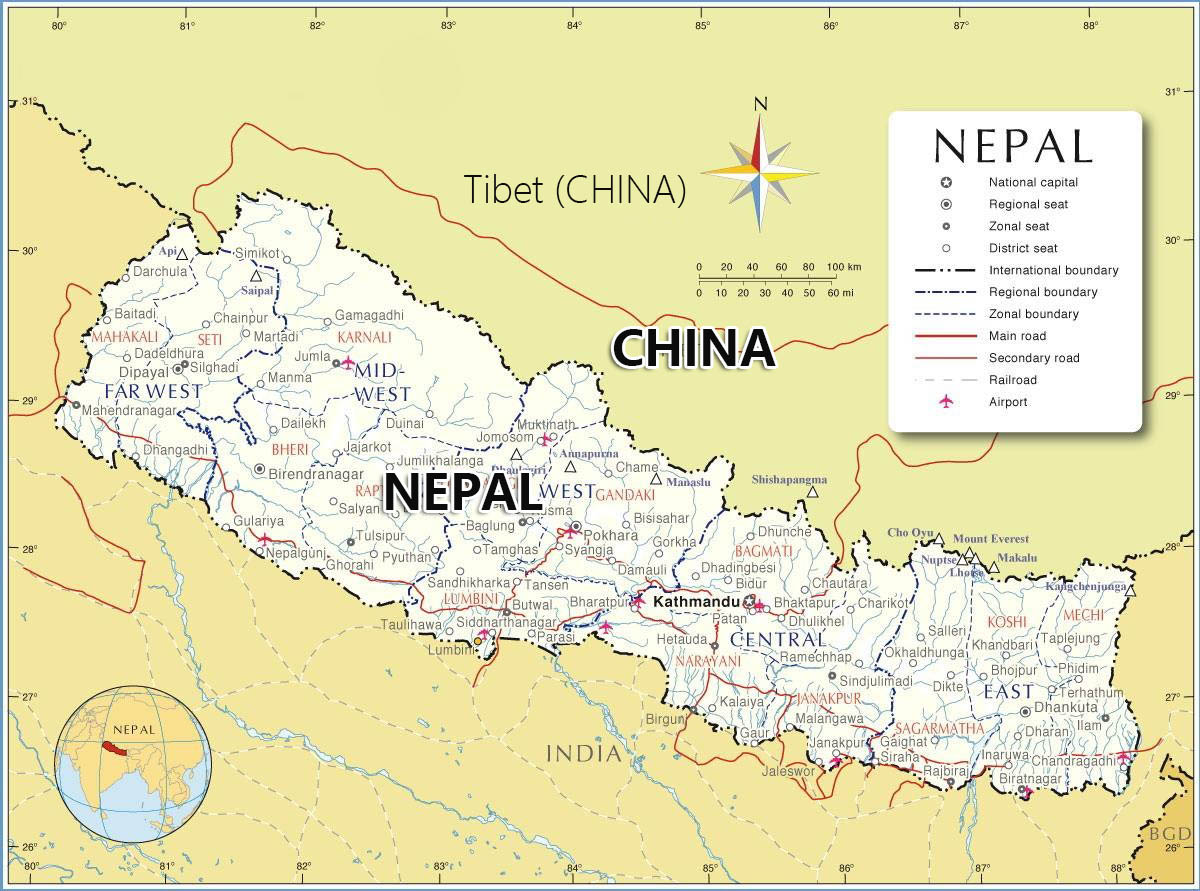 Nepal Tibet Guide Map Travel Maps of Nepal and Tibet