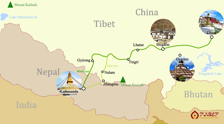 China Nepal Friendship Highway Route Map