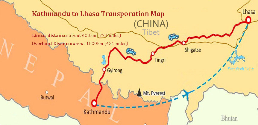 Overland Driving and flights are the most popular transportation from Kathmandu to Lhasa