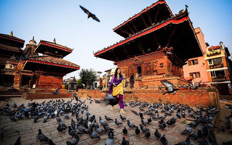 Pigeons at Patan Durbar Square