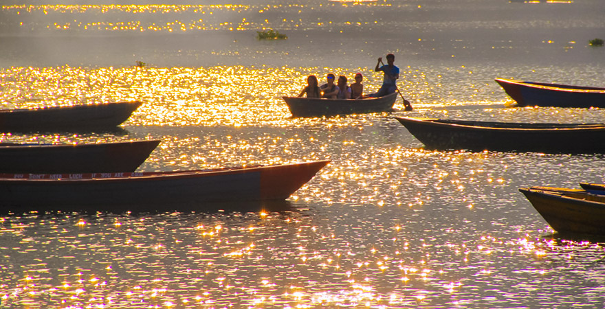 The Peaceful Sparkling Fewa Lake in Pokhara During Sunset