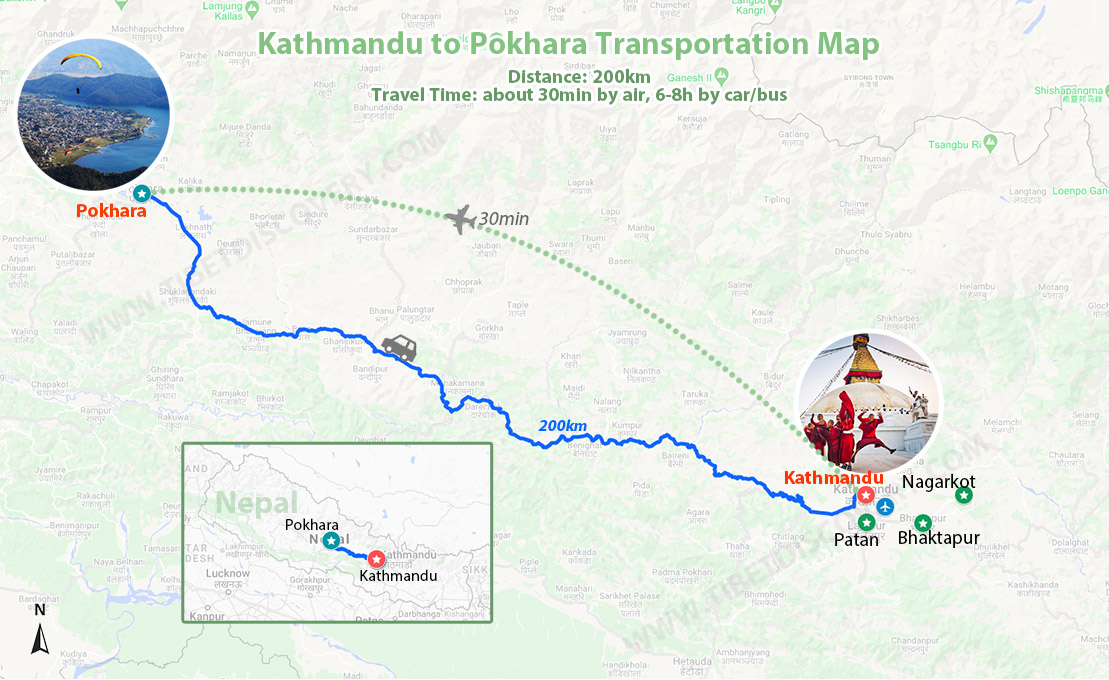 Nepal Kathmandu to Pokhara Transportation Map