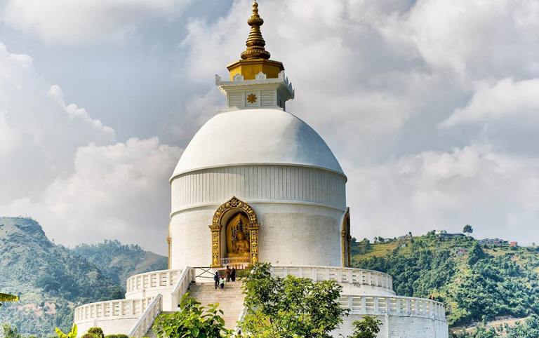 Brilliant-white World Peace Pagoda