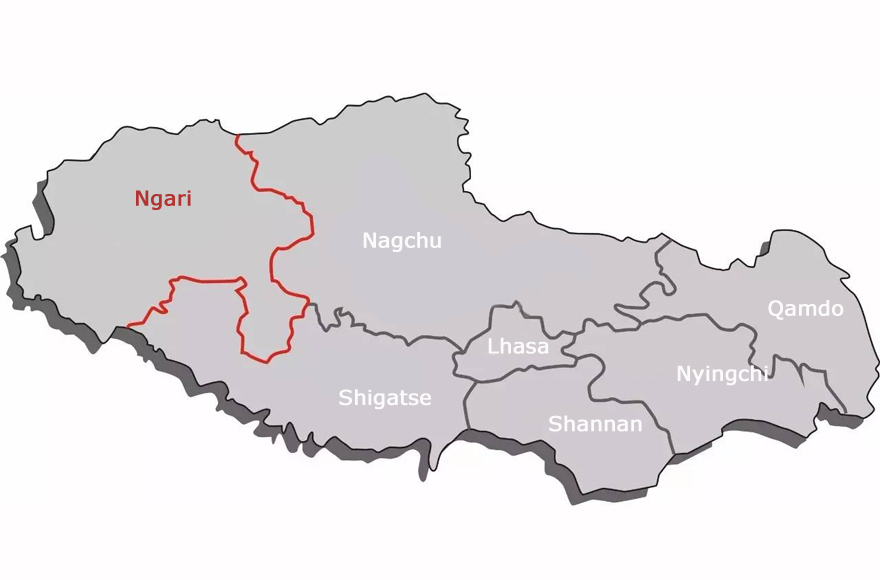 Tibet Ngari Location Map