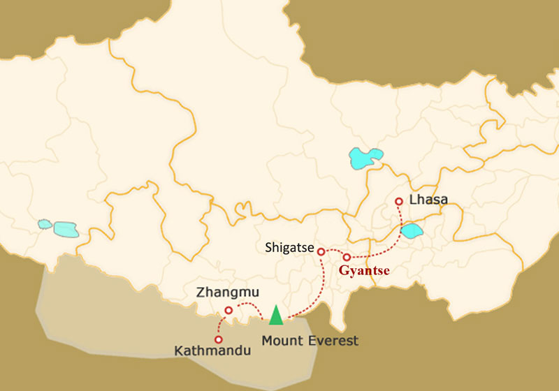 Gyantse Travel Map
