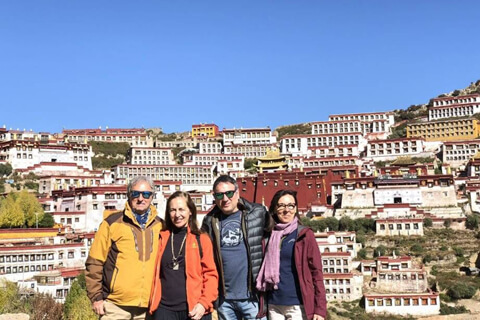 Manuel's group from Spain visited Ganden Monastery in Lhasa, tour made by Catherine