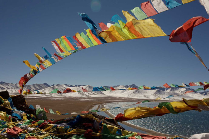 Colorful Tibet prayer flags in Namtso
