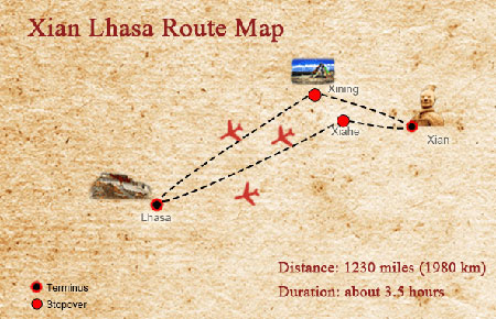Flights to Lhasa from Xian