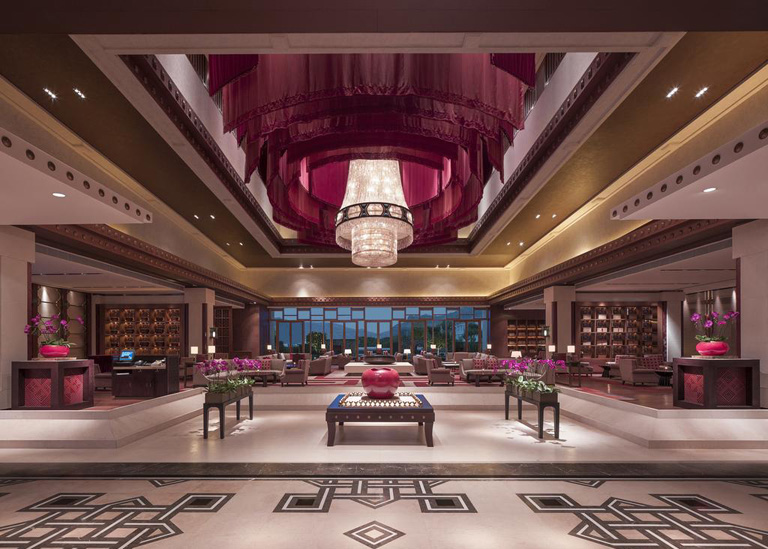 The luxury lobby of Shangri-La Hotel Lhasa