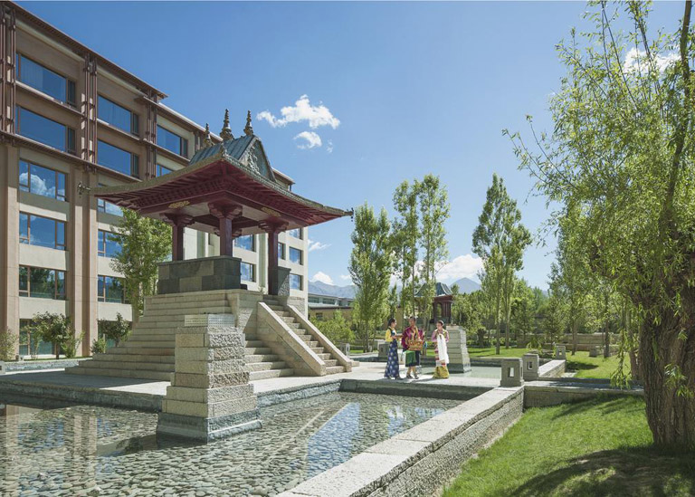 Beautiful garden of Shangri-La Hotel Lhasa