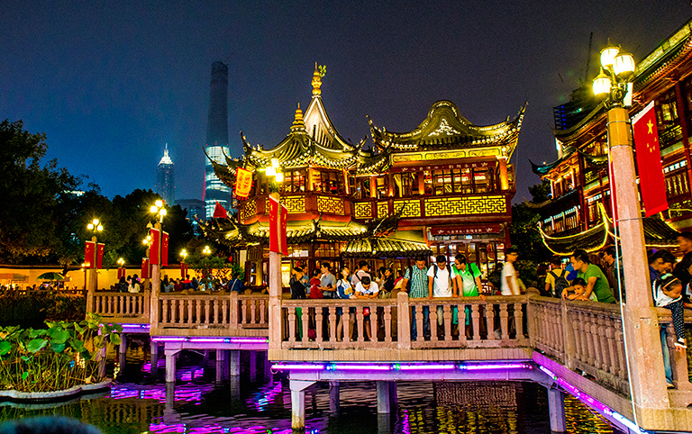 Night View of Yu Garden