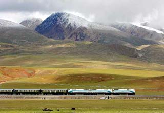 Train travel on the highest altitude railway