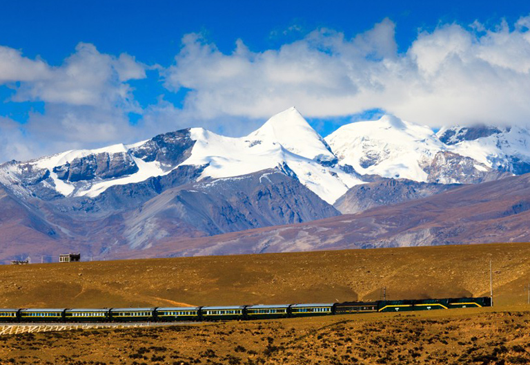 Snow-Capped Tanggula Mountains along the Qinghai Tibet Railway