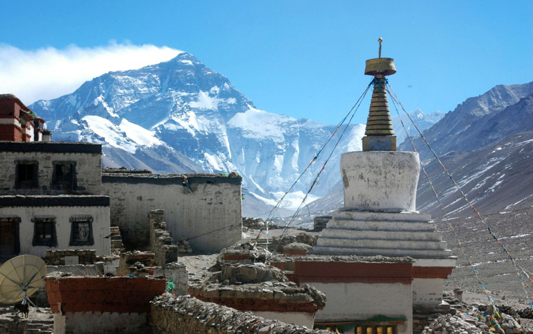 Viewing Mt. Everest from Rongbuk Monastery