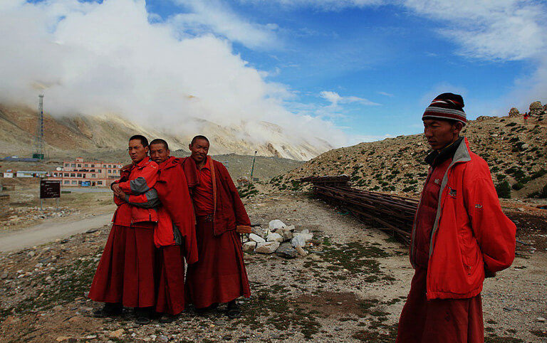 Tibetan Monks in Rongbuk Monastery on Mount Everest