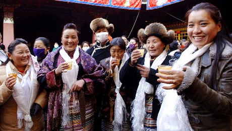 Tibetan Women Celebrate White Lhamo Festival in Jokhang Temple