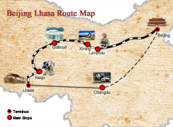 Beijing Lhasa Route Map